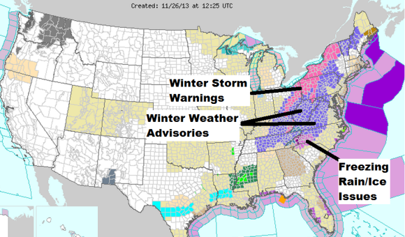 Local NWS offices have issued various watches, warnings, and advisories as an area of low pressure pushes along the East Coast. Image Credit: NOAA