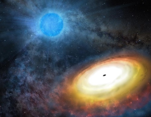 Artist's concept of a stellar-mass black hole (foreground) with accretion disk. Gas from a Wolf-Rayet star (background) is thought to feed a stellar-mass black hole's voracious appetite, in the galaxy M101. Gemini Observatory/AURA artwork by Lynette Cook.