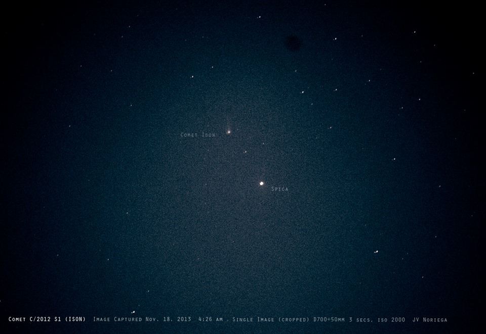 View larger. | It was exciting around the mornings of November 17 and 18, when Comet ISON was in the same binoculars field as the bright star Spica.  Photo by EarthSky Facebook friend Jv Noriega.  Thank you, Jv!