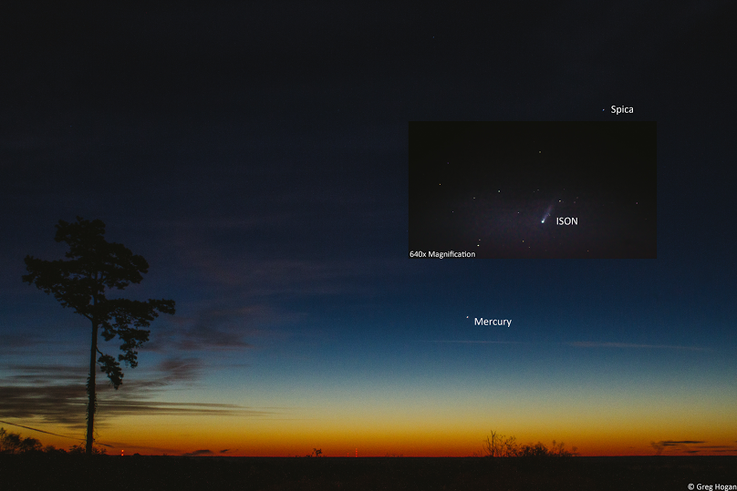 View larger. | Beautiful shot of Comet ISON heading into the sunrise as it nears its closest approach to the sun on November 28. This photo is by EarthSky friend on Google+, Greg Hogan. Thank you, Greg!