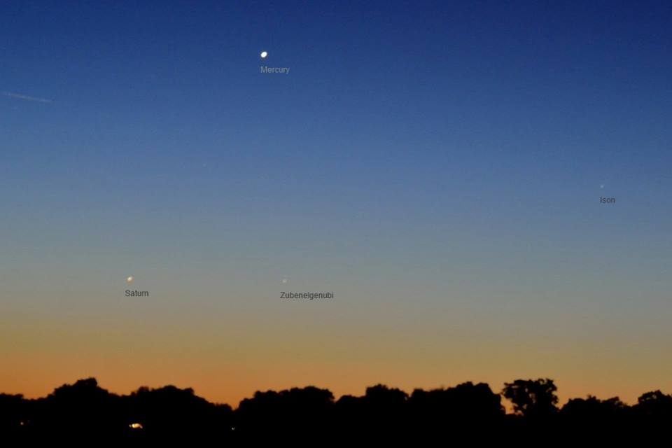 View larger. | Our friend Annie Lewis in Madrid, Spain caught Comet ISON on Saturday morning, November 23, near the planets Mercury and Saturn. Thank you, Annie! Notice that the comet is very low in eastern predawn twilight. Annie's camera caught it, but your eye may not.