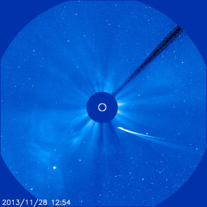 Comet ISON on November 28, 2013 via NASA SOHO mission.