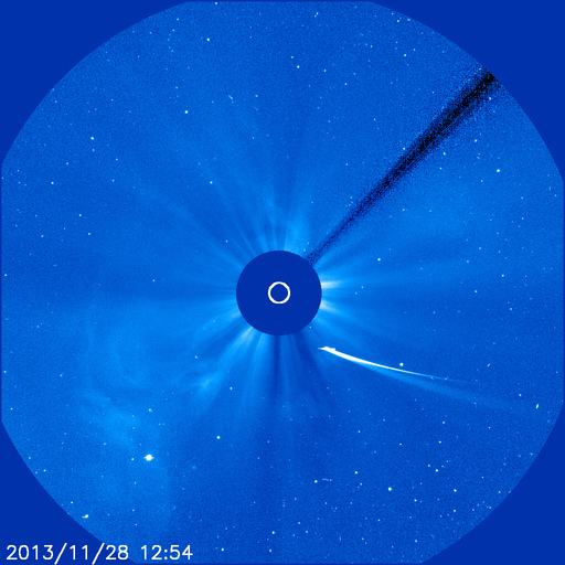 Comet ISON on November 28, 2013 via NASA SOHO mission.