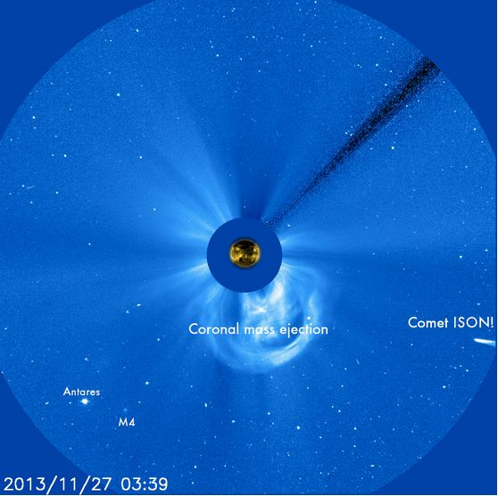 ISON entered the field of view of a SOHO coronagraph on November 27.
