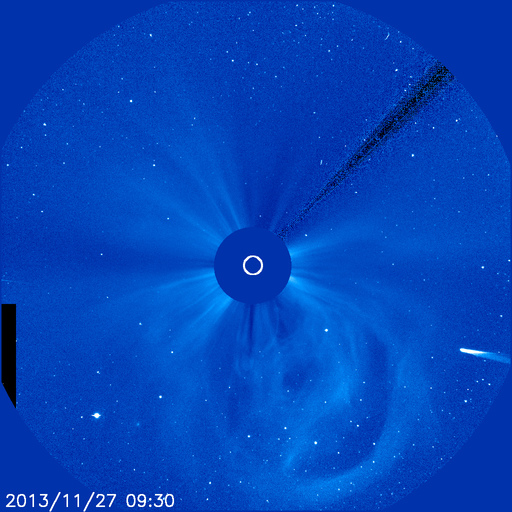 On November 27, Comet ISON could already be seen in this SOHO coronagraph, entering the bottom right corner of the field of view, just as predicted by the illustrated track in the image above this one. I found this image on this page.