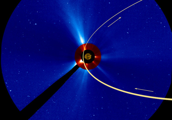 SOHO's LASCO C2 and C3 coronagraphs are expected to have a view of the comet as it passes through their fields-of-view, as shown below. From SOHO's viewpoint the comet enters from the lower right early on November 27 and exits towards the top near the end of November 30.