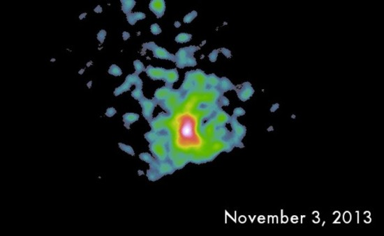 NASA's Chanra X-Ray Telescope acquired this first image of Comet ISON in x-rays on November 3. Read more about this image from NASA.