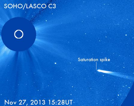 Comet ISON is now in the LASCO C3 field of view and is already beginning to saturate the detector. This marks a dramatic rise in brightness in the past 24 hours. Image via ESA/NASA/Karl Battams at the Comet ISON Observing Campaign website.