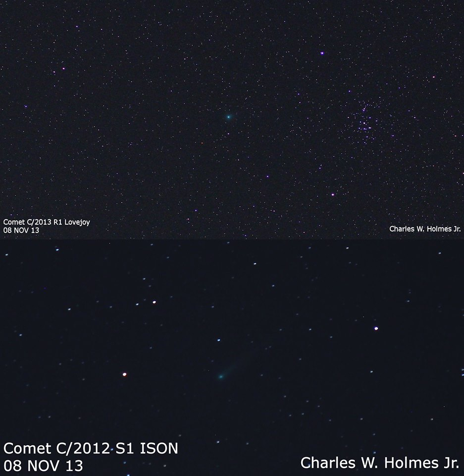 View larger. | Here are two comets - Lovejoy and ISON - as captured by EarthSky Facebook friend Charles W. Holmes on the morning of November 8, 2013.  Thank you, Charles!