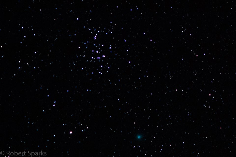 View larger. | Robert Sparks captured this photo of Comet Lovejoy (bottom, greenish color) and the Beehive cluster cluster on November 6, 2013.  He wrote,