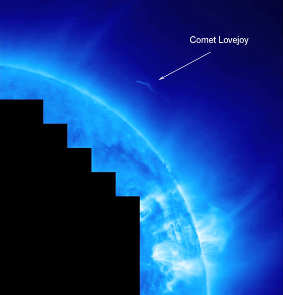 In 2011, Comet Lovejoy was not expected to survive its close pass near the sun.  But it did survive and went on to be a beautiful sight in the sky visible from Earth's Southern Hemisphere.  Click here to see a movie of Comet Lovejoy's pass near the sun.  Image via STEREO.