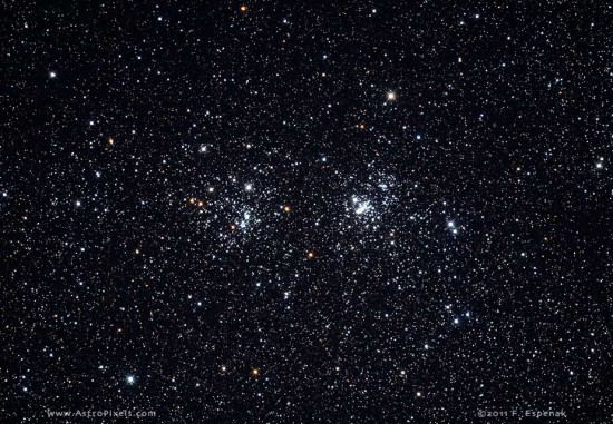 View larger. | The Double Cluster in Perseus.  Photo by Fred Espenak.  More details about the cluster and this photo.