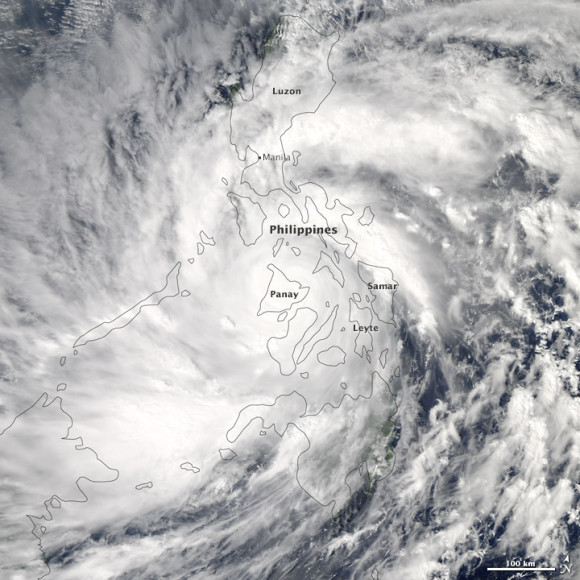 This natural color satellite image of Super Typhoon Haiyan over the Philippines. was acquired at 2:10 p.m. local time (5:10 UTC) on November 8, 2013, when winds were estimated to be 270 kph (165 mph). Image credit: NASA
