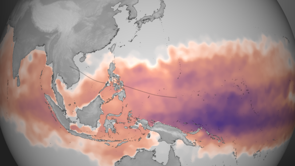 View larger. | Plotted here is the average Tropical Cyclone Heat Potential product for October 28 - November 3, 2013, taken directly from NOAA View. This dataset, developed by NOAA/AOML, shows the total amount of heat energy available for the storm to absorb, not just on the surface, but integrated through the water column. Deeper, warmer pools of water are colored purple, though any region colored from pink to purple has sufficient energy to fuel storm intensification. The dotted line represents the best-track and forecast data as of 16:00 UTC on November 7, 2013. Image and caption via NOAA Visualization Laboratory.