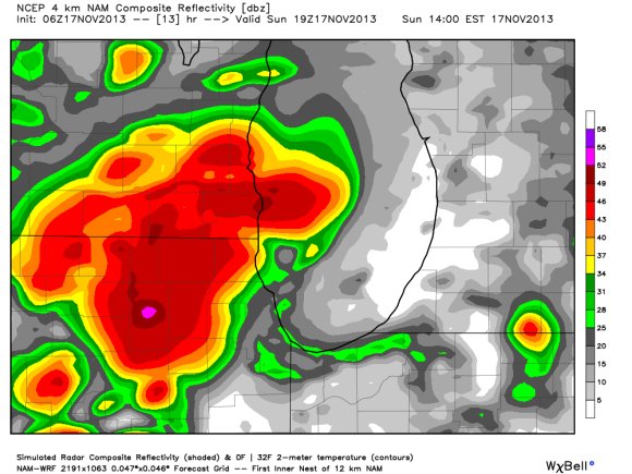 NAM 4-km model indicating strong storms pushing into the Chicago area this afternoon between 2-5 pm. Image Credit: Weatherbell