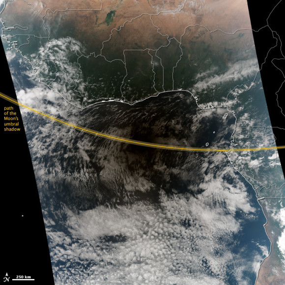 View from space: Hybrid eclipse shades Africa