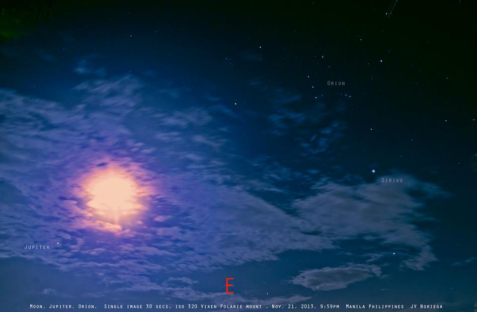View larger. | Moon, Jupiter and more as captured by Jv Noriega of Manila, on November 21, 2013. Jv is our friend on Facebook and G+. Thank you, Jv!