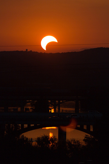 Partial solar eclipse from Austin, Texas