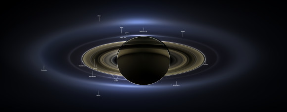 View zoomable image here. | New mosaic of Saturn and rings.