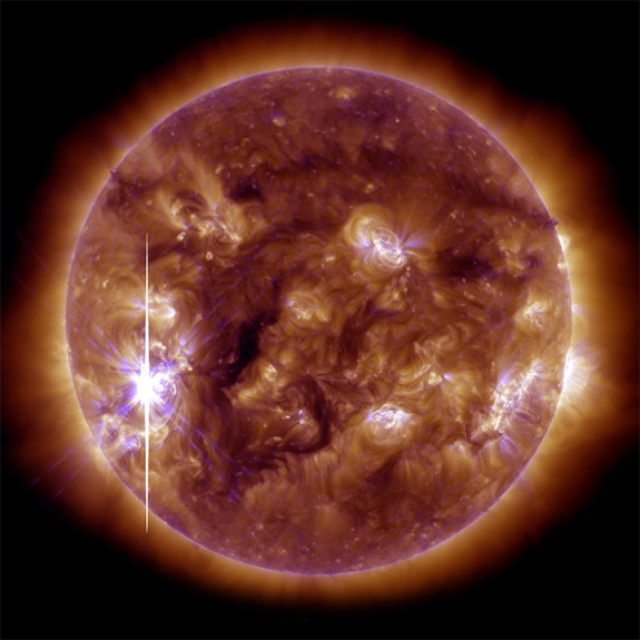 An X-class solar flare—the largest so far this year—on November 5, 2013. The flare followed a series of more than a two dozen flares that occurred between October 21 and November 5. The event was classified an X3.3 flare, falling into the category of most intense explosions. Read more about this image from NASA's Earth Observatory.