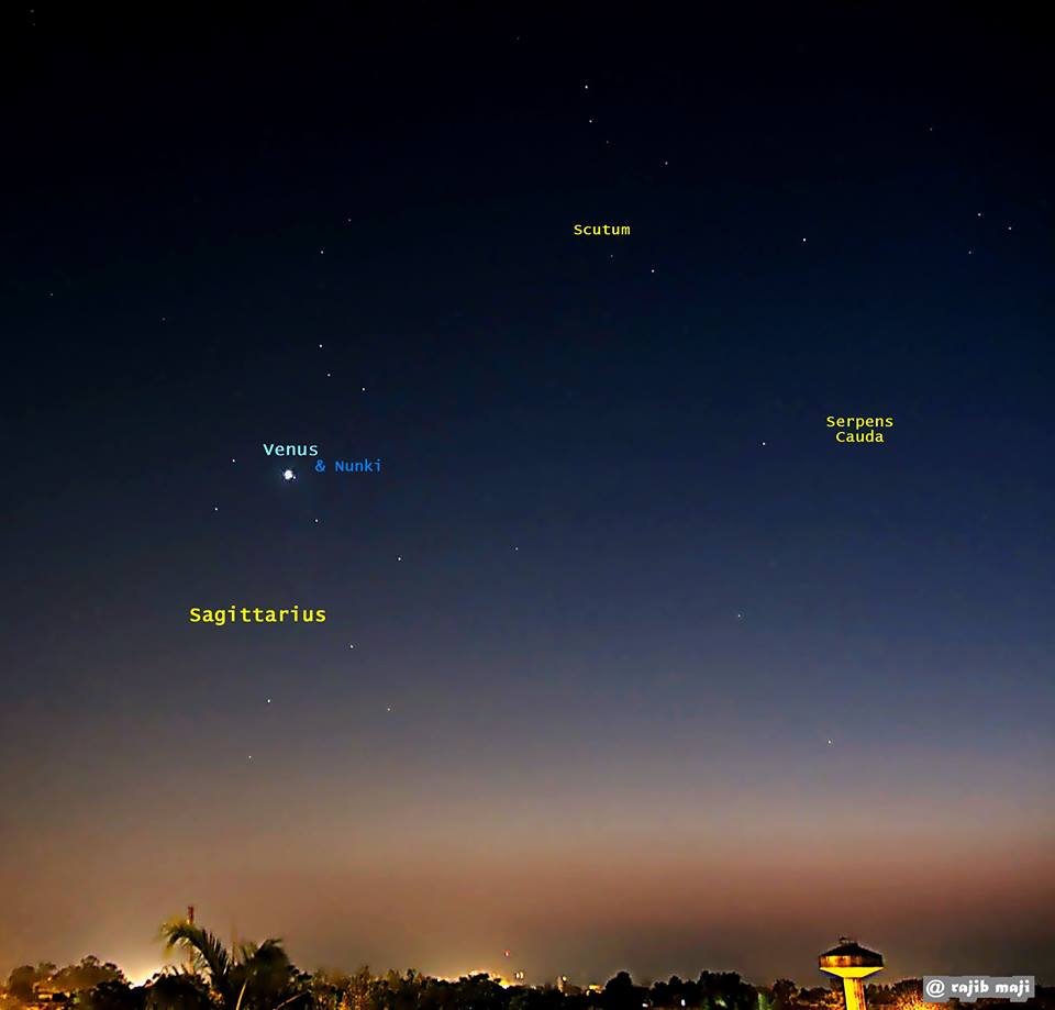 View larger.   Look closely at Venus in the twilight sky tonight, and you might notice a little star nearby.  This star is beloved among stargazers.  It's called Nunki, and it's in a little asterism known as the Milk Dipper of Sagittarius.  See the dipper shape?  Photo taken November 19, 2013 by EarthSky Facebook friend Rajib Maji in India.  Thank you, Rajib!