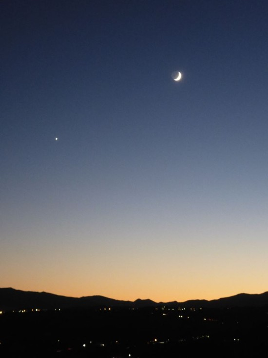 Moon and Venus on November 6, 2013 as captured by Kat Baker in northern Italy. Thank you, Kat!
