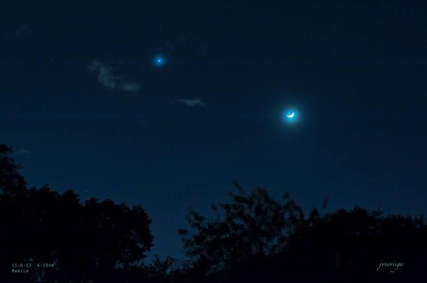 Early in the day of November 6, 2013, Jv Noriega in Manila captured this beautiful image of Venus and the moon. Note the moon's location below Venus. As the day passes, the moon will move up past Venus. Why? Because the moon is moving in orbit around Earth. Thank you, Jv!