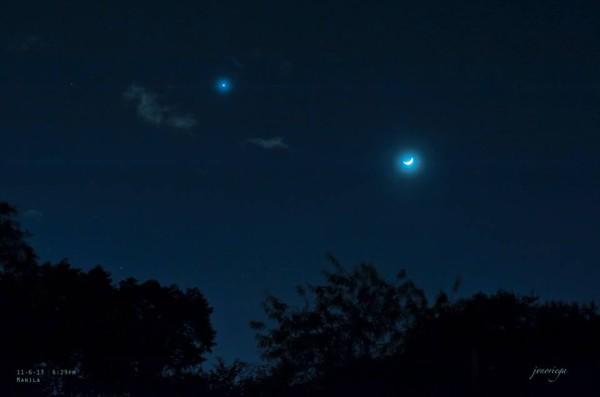 Great photos: Moon and Venus on November 6, 2013