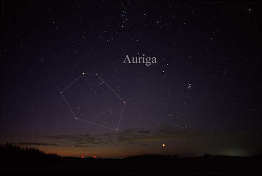 The constellation Auriga in the northeast sky at nightfall in December. The brightest star in this constellation is Capella. Image credit: AlltheSky.com