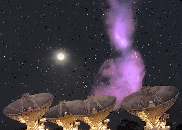 View larger. | This is two images spliced together. The purple cloud is Centaurus A, a giant galaxy with a supermassive black hole, typical of the galaxies in Radio Galaxy Zoo. Optical photo of stars and radio telescopes by S. Amy. Centaurus A radio image by I. Feain et al.