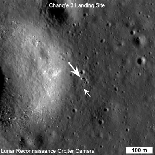 NASA's Lunar Reconnaissance Orbiter captured this image of China's Chang'e 3 lander and Yutu rover on the moon on December 25, 2013. The lander is the bigger dot, and the rover is a smaller one. Image via The Planetary Society.