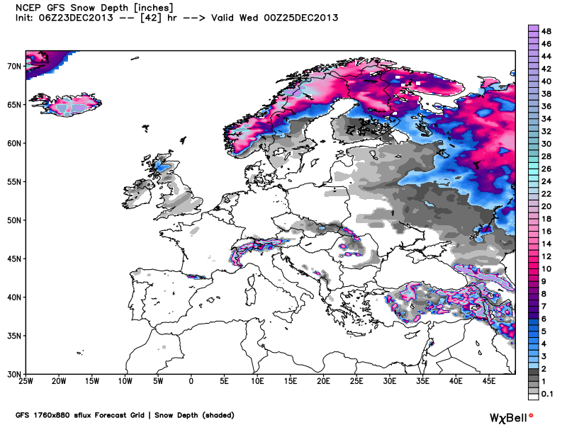 Snow Cover Map Europe.Who Will Get A White Christmas This Year Find Out On Earthsky