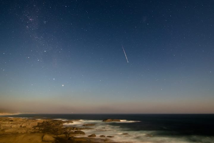 Geminid meteor and Nova Centauri on the night of December 13-14, 2013 by Colin Legg in Australia.