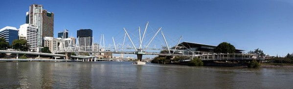 The Kurilpa Bridge crosses the Brisbane river in Brisbane, Australia. At 1,500 feet long, it is the world's largest hybrid tensegrity bridge. Image credit: Paul Guard via Wikimedia Commons.
