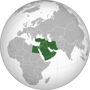Location of the Middle East. Image Credit: Wikipedia