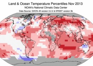 Eastern U.S. cold.  Most of rest of world ... warm!