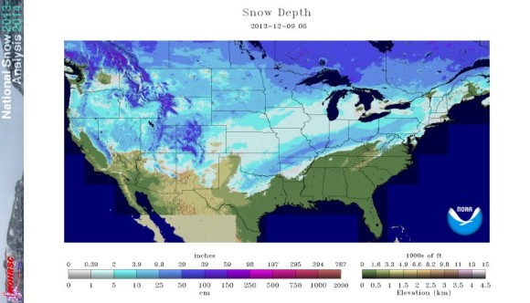 Snow depth across the United States on December 9, 2013. Image Credit: National Operational Hydrologic Remote Sensing Center