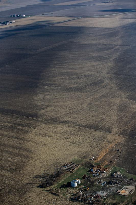 You can where the tornado created swirls on land in Washington, Illinois. Image Credit: Chicago Tribune
