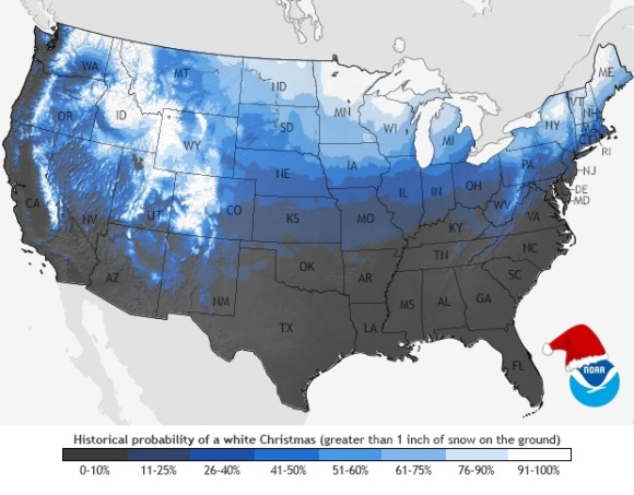 Areas that typically see a White Christmas across the United States. Image Credit: NCDC