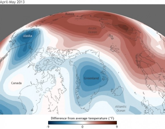 Temperature anomalies for April-May 2013 compared to the 1981-2010 average. Map by NOAA Climate.gov, based on NCEP Reanalysis data from NOAA ESRL Physical Sciences Division.