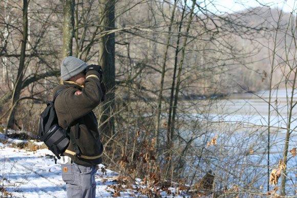 A participant counting birds for the Christmas Bird Count.  Amy Kovach, courtesy of the National Audubon Society.