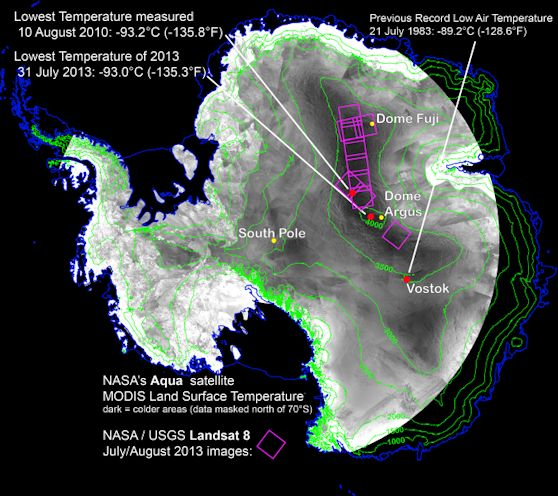 With remote-sensing satellites, scientists have found the coldest places on Earth, just off a ridge in the East Antarctic Plateau. The coldest of the cold temperatures dropped to minus 135.8 F (minus 93.2 C) -- several degrees colder than the previous record. Image Credit: Ted Scambos, National Snow and Ice Data Center