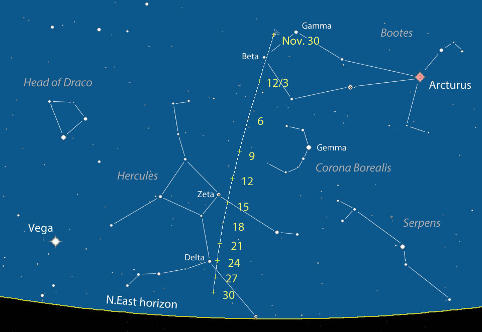 View larger. | This chart is from AstroBob who has a great current article on Comet Lovejoy here. The chart shows the comet's path in December, 2013.