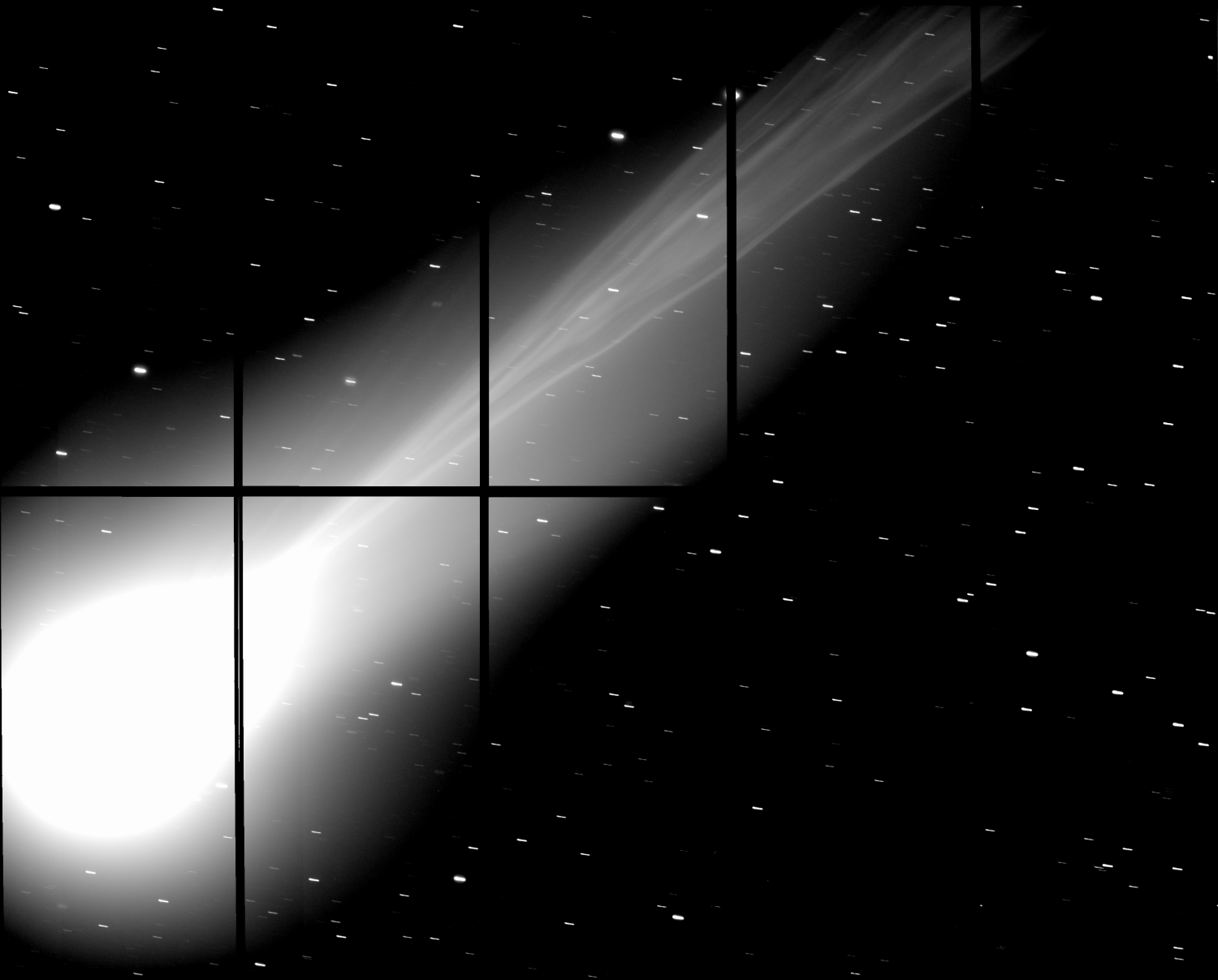 Details in the tail of Comet Lovejoy as captured by the Subaru Telescope's wide-field, prime-focus camera, called Suprime-Cam, on December 3, 2013. Click here for details on how to see Comet Lovejoy in December, 2013.
