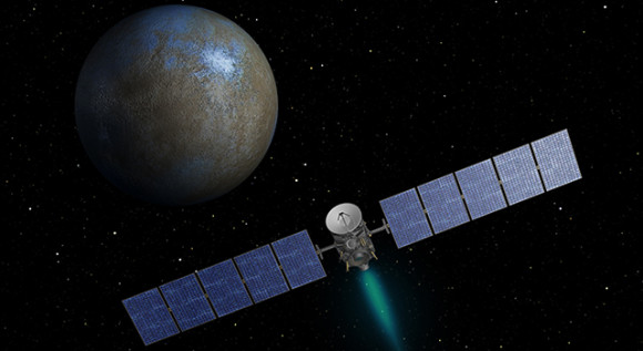 This artist's concept shows NASA's Dawn spacecraft heading toward the dwarf planet Ceres. Dawn spent nearly 14 months orbiting Vesta, the second most massive object in the main asteroid belt between Mars and Jupiter, from 2011 to 2012. It is heading towards Ceres, the largest member of the asteroid belt. When Dawn arrives, it will be the first spacecraft to go into orbit around two destinations in our solar system beyond Earth. Image via NASA
