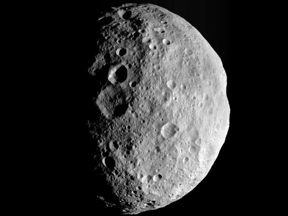 Here's how the Dawn spacecraft saw Vesta, as it was departing that little world on September 5, 2012.  This image looks down at Vesta's north pole.  Image via NASA/JPL-Caltech/UCLA/MPS/DLR/IDA