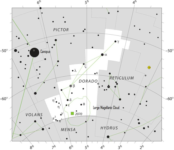 View larger The Large Magellanic Cloud is found in the constellations  Dorado and Mensa. The nearby star is Canopus.