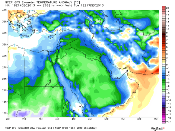 Temperature anomalies for Monday across the Middle East. It simply shows the temperature departures from normal. The green colors represent temperatures 5-10 degrees below average. Image Credit: Weatherbell