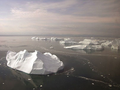 Icebergs off the coast of Greenland. Image Credit: Chris Schenk, U.S. Geological Survey.