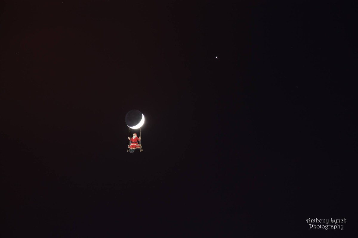 View larger. | The moon and Venus earlier this month, with a little something extra. Anthony Lynch in Dublin, Ireland composed this image. Visit Anthony Lynch on Facebook. Thank you, Anthony!